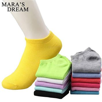 Mara's Dream 10pcs=5pairs/lot women cotton socks summer cute candy color boat socks ankle socks for woman thin sock slippers