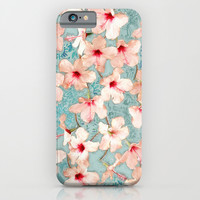 Shabby Chic Hibiscus Patchwork Pattern in Peach & Mint iPhone & iPod Case by Micklyn