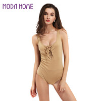 Sexy Playsuit Lace Up Bodysuit Women V Neck Sleeveless Rompers Womens Jumpsuit Short Overalls Bodycon Jumpsuit SM6