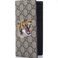 GUCCI Men's GG Supreme Tiger Symbol Long Wallet 459456 K5Y1N 8666 Authentic