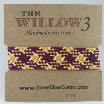 NFL Team Bracelet Washington Burgundy and Gold Armband Bracelet - Plaid