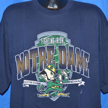 90s Notre Dame Fighting Irish Navy t-shirt Extra-Large