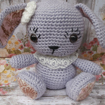 Plush Bunny, Crochet Bunny Toy, Nursery Decor, Baby Shower Gift, Amigurumi Bunny