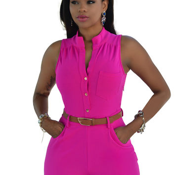 Rose Buttoned Romper with Belt