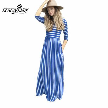 New Spring Summer 2018 Elegant Women Long Dress Striped Splice Maxi Dress Pocket Big Swing Loose Dress Sweet Style Robe Vestidos