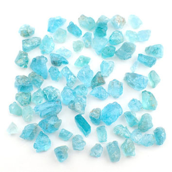 25gm Apatite rough stones - 3-14mm - appx. 55pc / small raw blue mineral