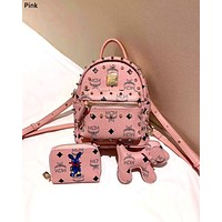 MCM Tide brand female new product wild backpack three-piece Pink