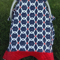 Infant Boy's Nautical & Red Minky Carseat Cover