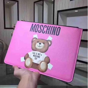 Moschino Fashion new bear letter print wallet envelope bag handbag Purple