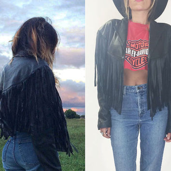 Vintage 1970's 1980's Black FRINGE Leather Biker Jacket || One Size ||| Small Medium Large