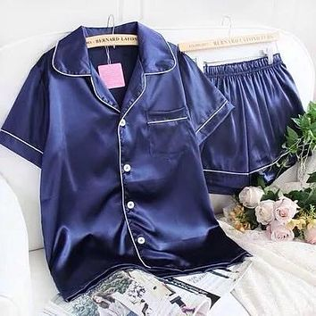 2017 summer Solid Women Sleep Pajamas Sets Turn-Down Collar short  Sleeve Top And Hot Shorts Casual Style Home Clothes 41807
