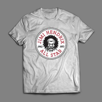 REGGAE ARTIST JIMI HENDRIX ALL STAR SPORTS WEAR PARODY T-SHIRT
