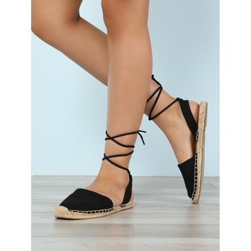 Closed Toe Espadrille Trim Ankle Wrap Sandal