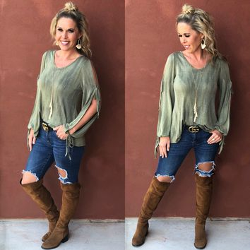 Onto Something Cold Shoulder Top: Olive
