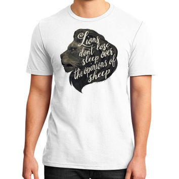 Lions don't lose sleep over the opinions of sheep District T-Shirt (on man)