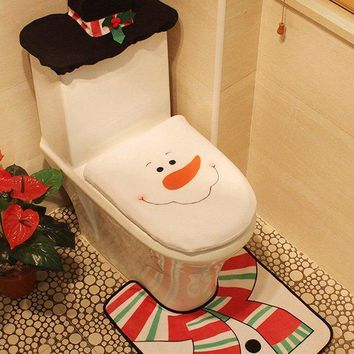 3PCS Christmas Decoration Bathroom Snowman Pattern Toilet Seat Cover Set