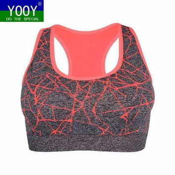 DCCKLW8 Professional Women Shockproof Sports Bra, Stretch Push Up Padded Fitness Vest ,Breathable Seamless Underwear Yoga Running T