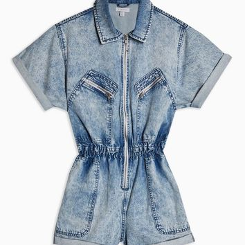 Acid Wash Zip Playsuit | Topshop