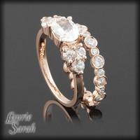 14kt Rose Gold White Sapphire Wedding Ring Set - LS2172