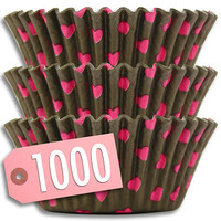 Brown & Pink Hearts Baking Cups 1000 pk - Default