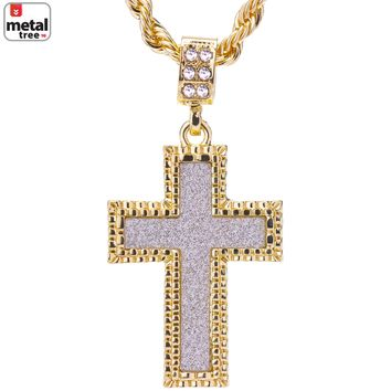 """Jewelry Kay style Men's 14k Gold Plated Iced Out Glitter Cross Pendant Rope Chain 24"""" HC 2047 G"""