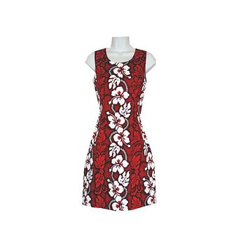 KY's Red with White Hibiscus Short Tank Dress