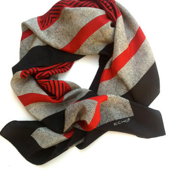 Vintage Scarf Headband Shawl Vintage Red Grey Black Silk Echo Scarf FREE Shipping. Gift for her.