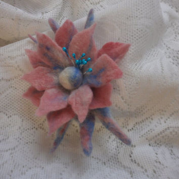 Felted brooch, blue pink felt brooch flower,felt flower brooch, hair accessories,wool jewelry, hair clip brooch,Christmas gift, hat corsages