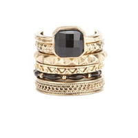 BLACK & GOLD TEXTURED STACKABLE RINGS - 6 PACK