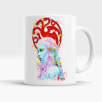Khaleesi - Game of Thrones Watercolor Coffee Tea Mug, Daenerys Targaryen Cup, Mother Dragon Art Mug