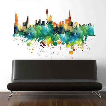 cik1867 Full Color Wall decal Watercolor New York Statue of Liberty United States Living Room Bedroom