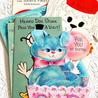 Vintage Baby Greeting Cards. Baby Shower. Baby Book. Baby Birthday Cards. Baby Boy. Baby Girl. Embellishment. Scrapbooking. Craft Supply.
