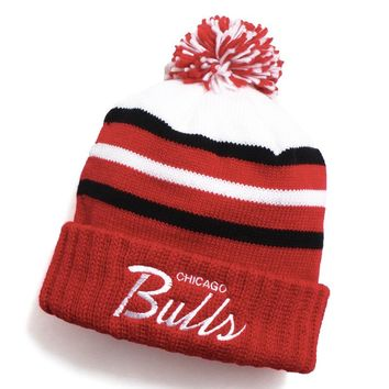 Chicago Bulls Color Block Special Script Pom Beanie Red / Black