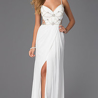Spaghetti Strap Floor Length V-Neck Dress by Bari Jay