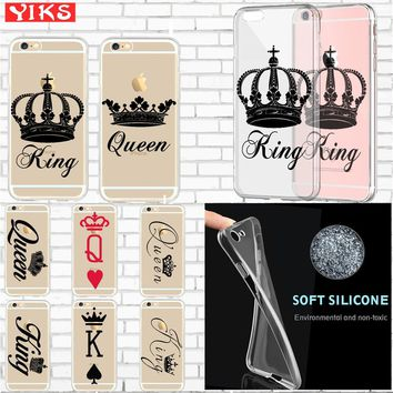 King queen Soft silicone Lovers Case coque For iPhone X 7 Plus Case for iPhone SE 5s 6S 7 8 Plus Phone Case shell Skin Cover