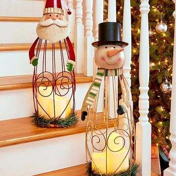 Christmas Triple LED Candle Lantern Santa or Snowman Metal Scroll 2 Ft Tall