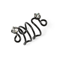 Coil and Rhinestone Ear Cuff