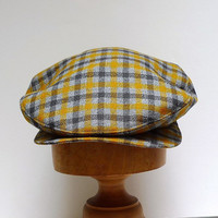 Men's  Driving Cap in Mustard and Gray Plaid Vintage Wool - Made to Order in Your Size