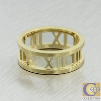 Authentic Tiffany & Co. Atlas Open Ring 18k Yellow Gold Roman Numeral Band Ring