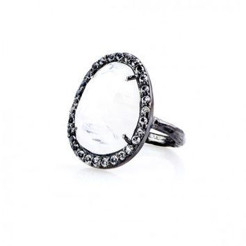 Moonstone Slice Cocktail Ring with White Topaz - Rings - Shop