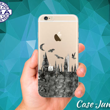 Hogwarts Castle Gray Watercolor Owls Moon iPhone 5 iPhone 5C iPhone 6 iPhone 6 + iPhone 6s iPhone 6s Plus and iPhone SE iPhone 7 Clear Case