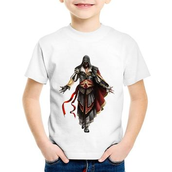Fashion Print Assassins Creed Children T-shirts Kids Hipster Summer Short Sleeve Tees Boys/Girls Casual Tops Baby Clothes,HKP479