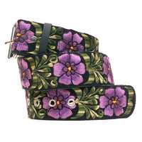 Leather wide belt with traditional Guatemalan embroidery -Doble Flor (Double Flower) violet, purple, green - Size Medium-Medium belt- DFWB3M