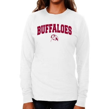 West Texas A&M Buffaloes Ladies Logo Arch Long Sleeve Slim Fit T-Shirt - White
