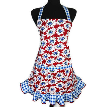 Retro Kitchen apron for women , Blue and White flowers on Red , Checkered Ruffle and Trim