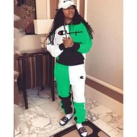Champion women's letter embroidery stitching pocket hooded fashion casual suit two-piece Green