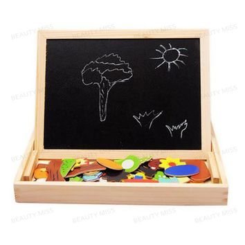 Wooden Insect and Animal Magnetic easel board Jigsaw Puzzle Toy Box with Blackboard & Whiteboard for children to draw