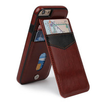 Luxury Leather Case For iPhone 7 Plus Cover For iPhone 6 6s Plus 6plus Case Wallet Card Slot Phone Fundas Buckle Stand Coque