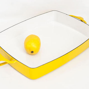 Vintage Dansk Kobenstyle Yellow Baking Dish, Danish Design Roasting Pan Casserole Dish France IHQ, 13x10