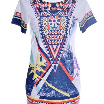 Tribal tropical print colorful Loose Blouse straight long shirt Oversized Shirts cute Womans Casual Summer Blouse Beach 2016 New